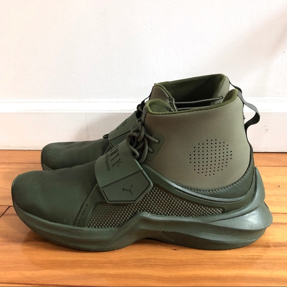 Fenty by Rihanna olive Puma mid top sneakers